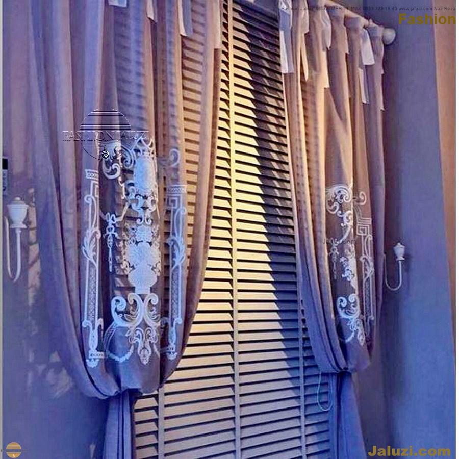 ahşap jaluzi fon perde modelleri ahşap jaluzi modelleri ev ofis kumaş perde tül jaluzi kenar süs perde wood blinds turkey (73)