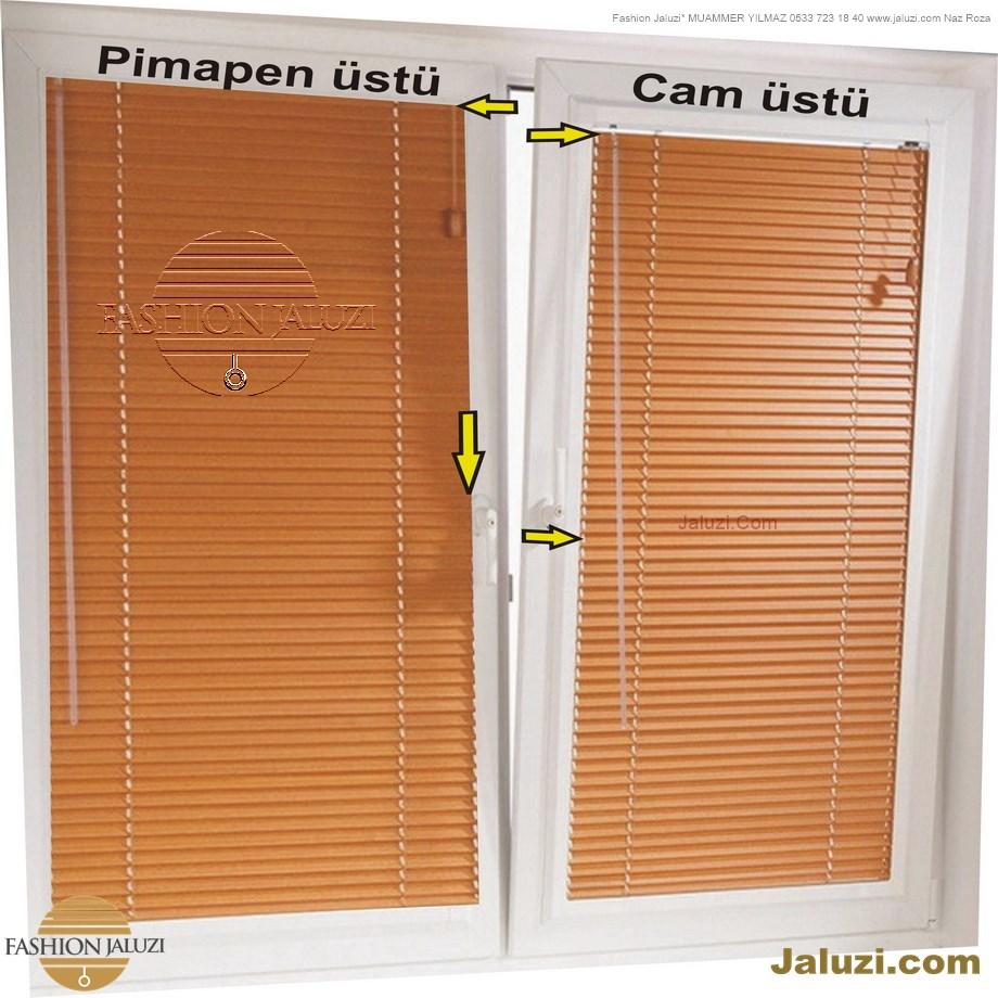 cam üstü jaluzi perde pencere pimapen üstünde üzerine sabitli ipli zıgıl zıgıllı zigil ipli zincirli düğmeli motorlu 25mm 50mm ahşap metal alüminyum jaluzi pvc pencere (1)