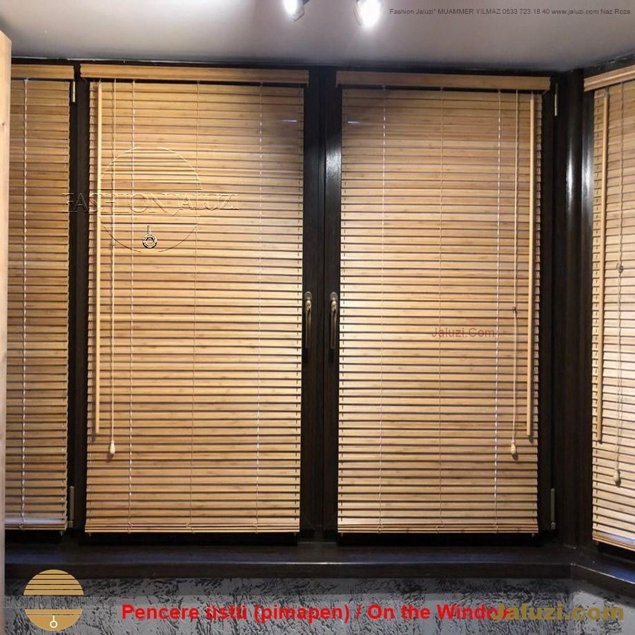 cam üstü jaluzi perde pencere pimapen üstünde üzerine sabitli ipli zıgıl zıgıllı zigil ipli zincirli düğmeli motorlu 25mm 50mm ahşap metal alüminyum jaluzi pvc pencere (22)