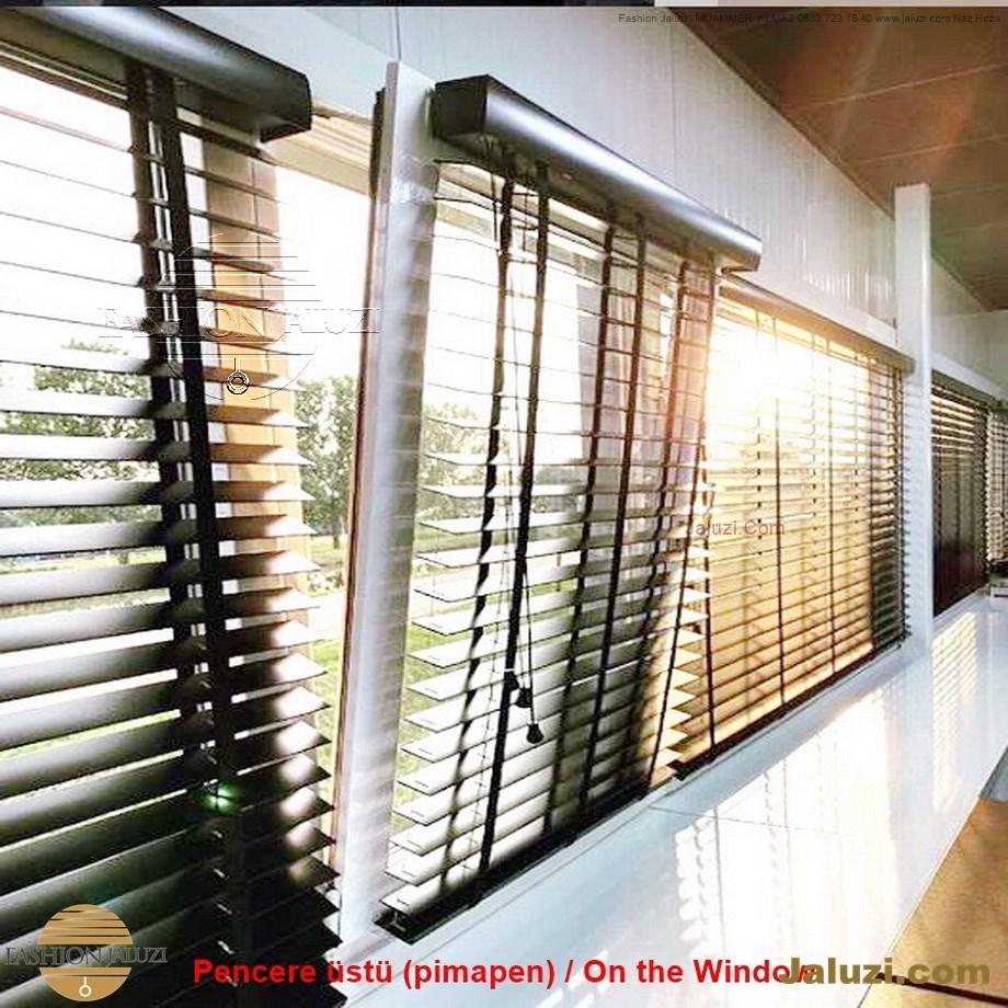 cam üstü jaluzi perde pencere pimapen üstünde üzerine sabitli ipli zıgıl zıgıllı zigil ipli zincirli düğmeli motorlu 25mm 50mm ahşap metal alüminyum jaluzi pvc pencere (25)