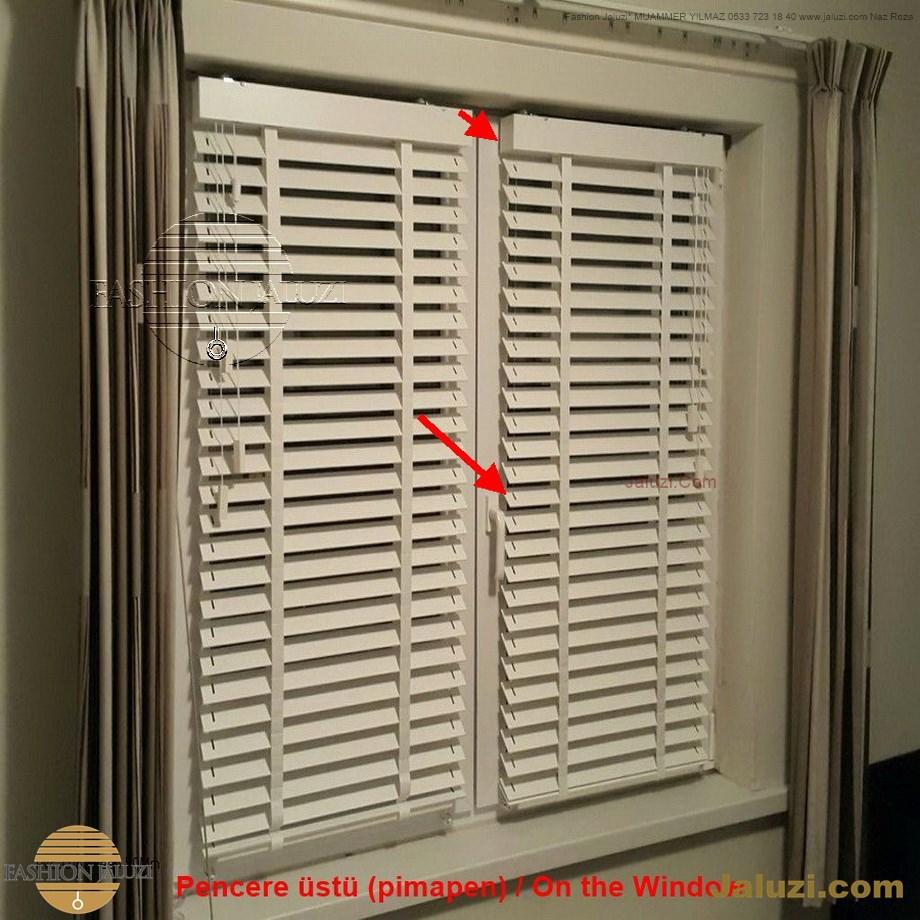 cam üstü jaluzi perde pencere pimapen üstünde üzerine sabitli ipli zıgıl zıgıllı zigil ipli zincirli düğmeli motorlu 25mm 50mm ahşap metal alüminyum jaluzi pvc pencere (8)