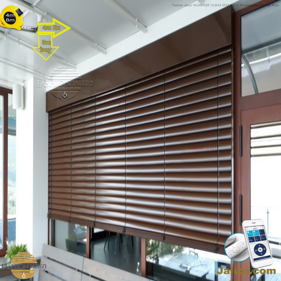 geniş enli ahşap lauzi 4m 5m 6m yüksek boy wide extra large wood blinds motorlu dev jumbo çok yüksek çok geniş boy (21)
