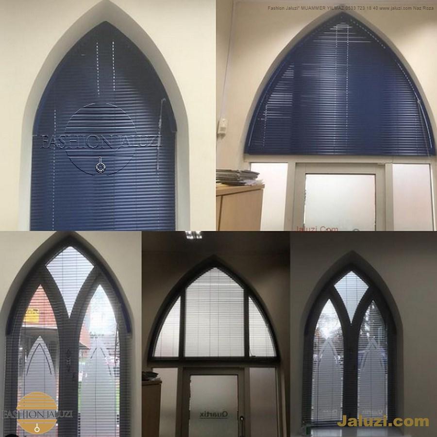 jaluzi perde eğimli meyilli üçgen yamuk şekilsiz alttan eğik formsuz üstten açılı açı shaped venetian blinds ahşap jaluzi perde (14)