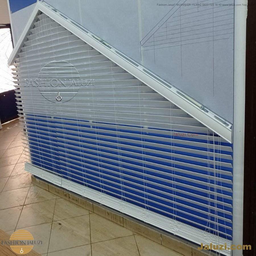 jaluzi perde eğimli meyilli üçgen yamuk şekilsiz alttan eğik formsuz üstten açılı açı shaped venetian blinds ahşap jaluzi perde (15)