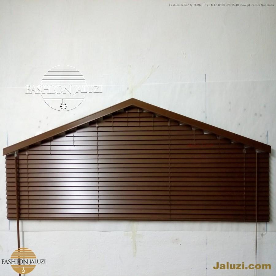 jaluzi perde eğimli meyilli üçgen yamuk şekilsiz alttan eğik formsuz üstten açılı açı shaped venetian blinds ahşap jaluzi perde (19)
