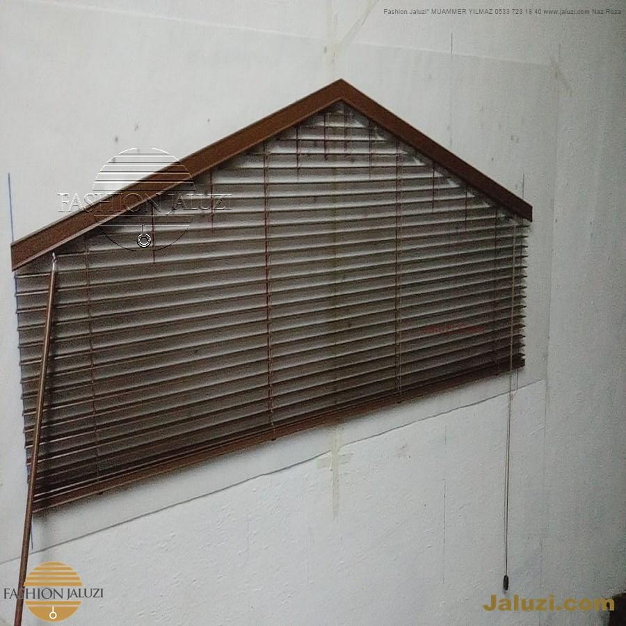 jaluzi perde eğimli meyilli üçgen yamuk şekilsiz alttan eğik formsuz üstten açılı açı shaped venetian blinds ahşap jaluzi perde (20)