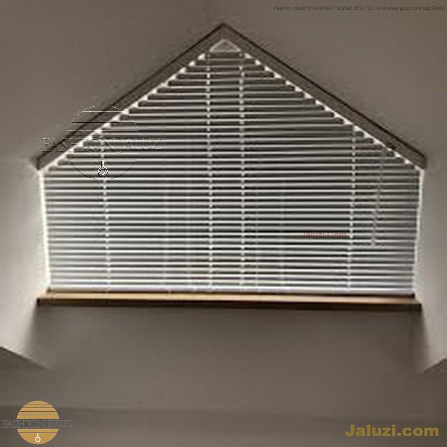 jaluzi perde eğimli meyilli üçgen yamuk şekilsiz alttan eğik formsuz üstten açılı açı shaped venetian blinds ahşap jaluzi perde (21)