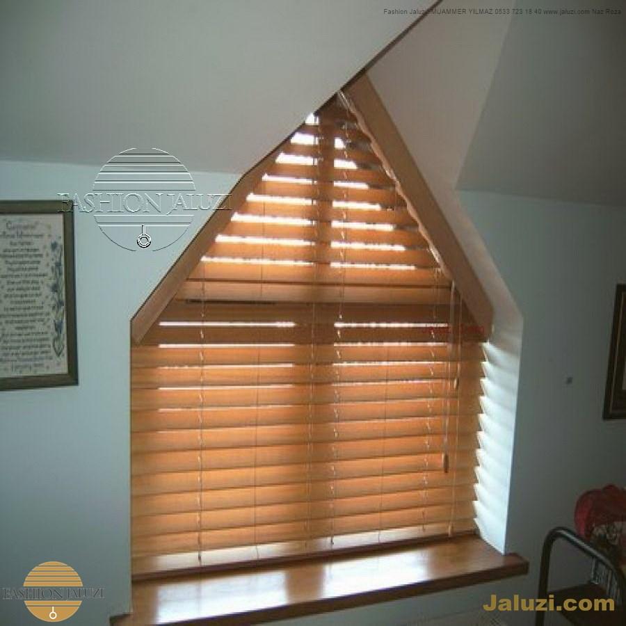 jaluzi perde eğimli meyilli üçgen yamuk şekilsiz alttan eğik formsuz üstten açılı açı shaped venetian blinds ahşap jaluzi perde (22)