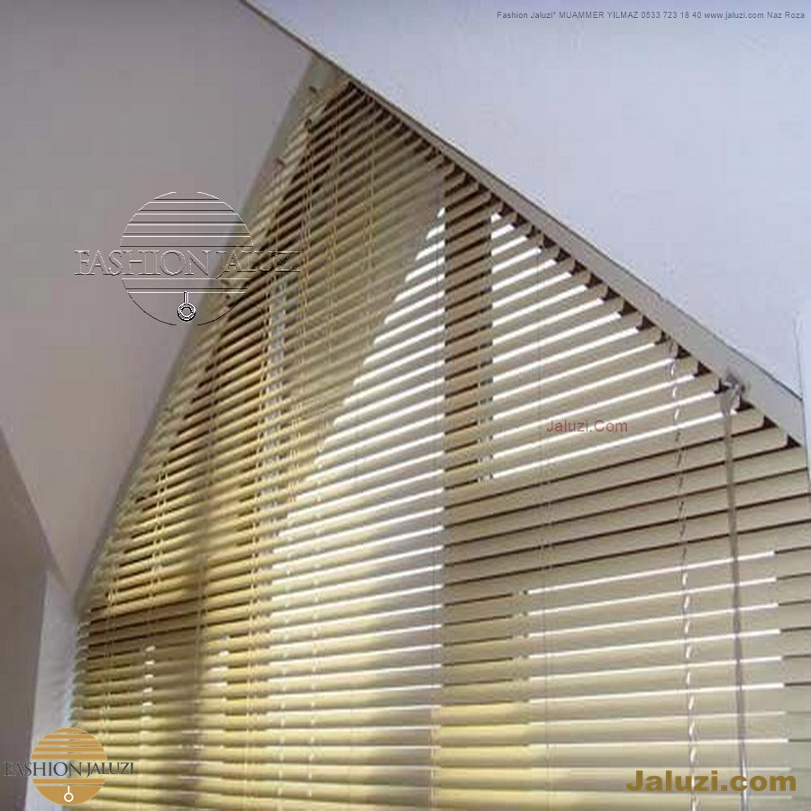 jaluzi perde eğimli meyilli üçgen yamuk şekilsiz alttan eğik formsuz üstten açılı açı shaped venetian blinds ahşap jaluzi perde (25)