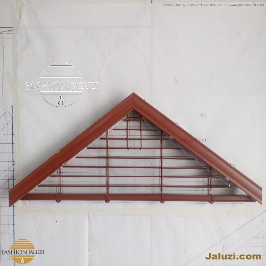 jaluzi perde eğimli meyilli üçgen yamuk şekilsiz alttan eğik formsuz üstten açılı açı shaped venetian blinds ahşap jaluzi perde (28)