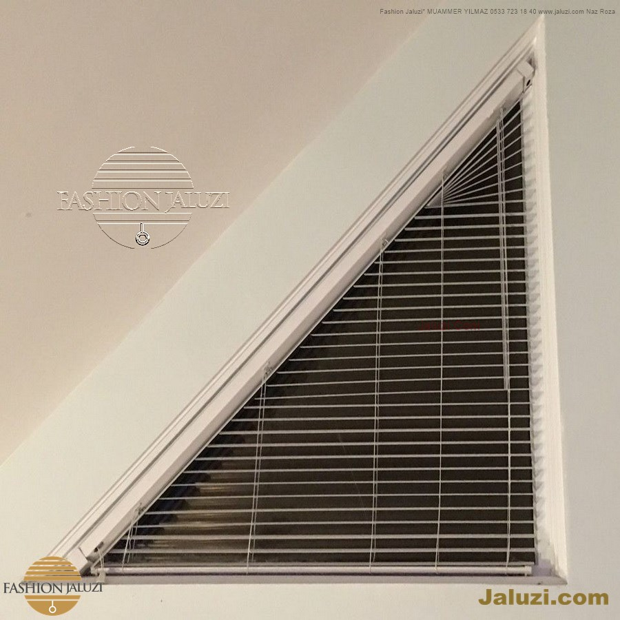 jaluzi perde eğimli meyilli üçgen yamuk şekilsiz alttan eğik formsuz üstten açılı açı shaped venetian blinds ahşap jaluzi perde (29)