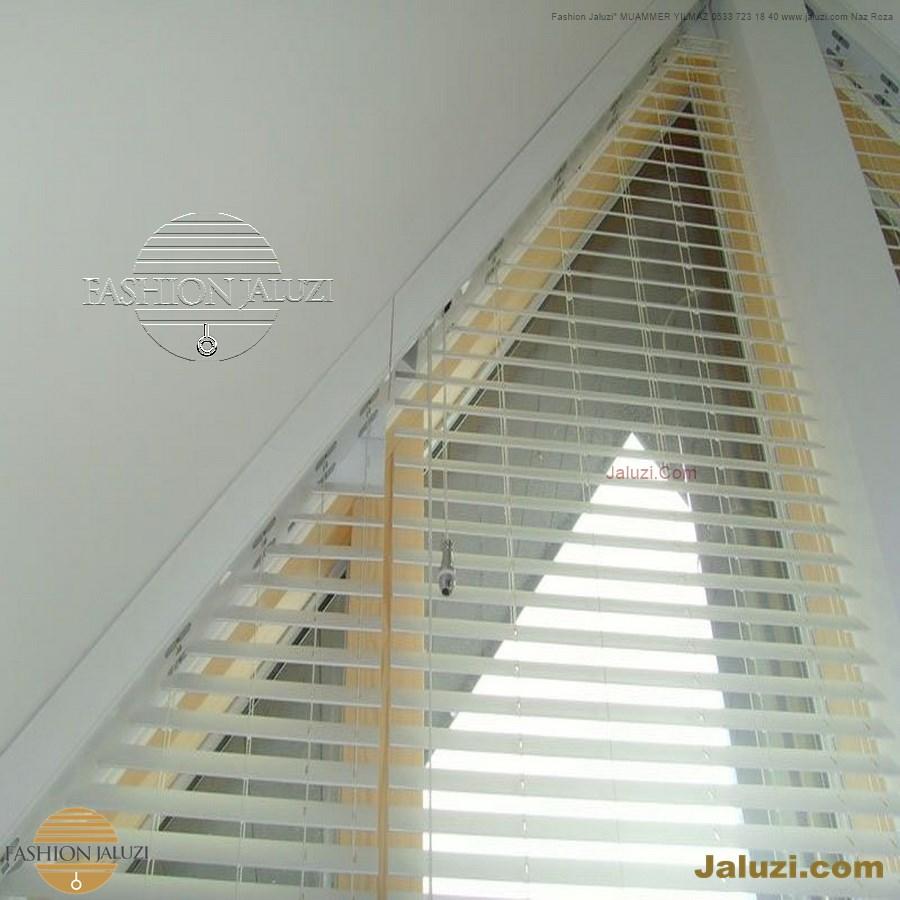jaluzi perde eğimli meyilli üçgen yamuk şekilsiz alttan eğik formsuz üstten açılı açı shaped venetian blinds ahşap jaluzi perde (31)