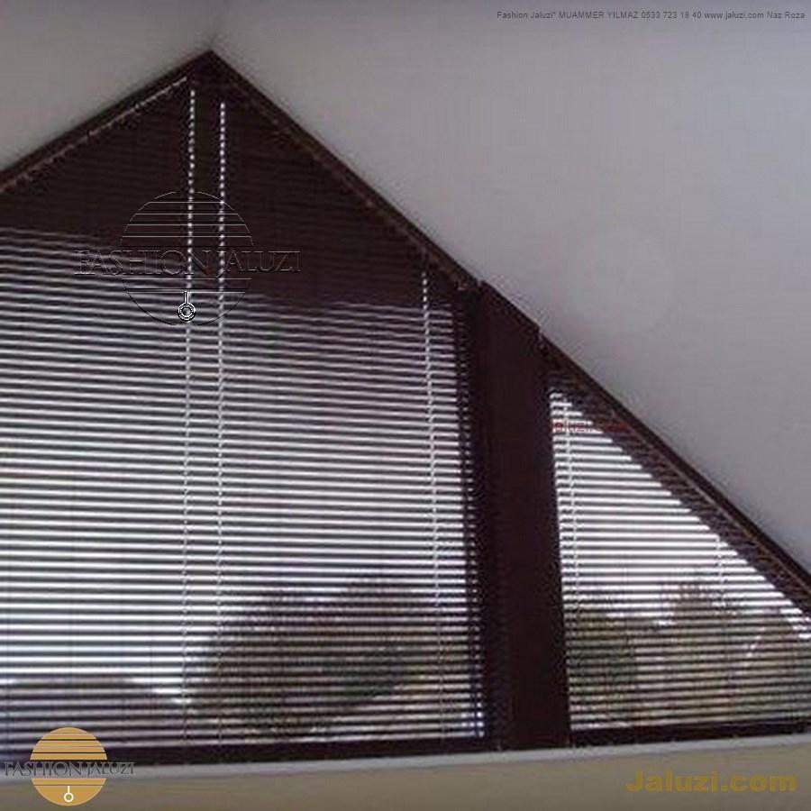 jaluzi perde eğimli meyilli üçgen yamuk şekilsiz alttan eğik formsuz üstten açılı açı shaped venetian blinds ahşap jaluzi perde (32)
