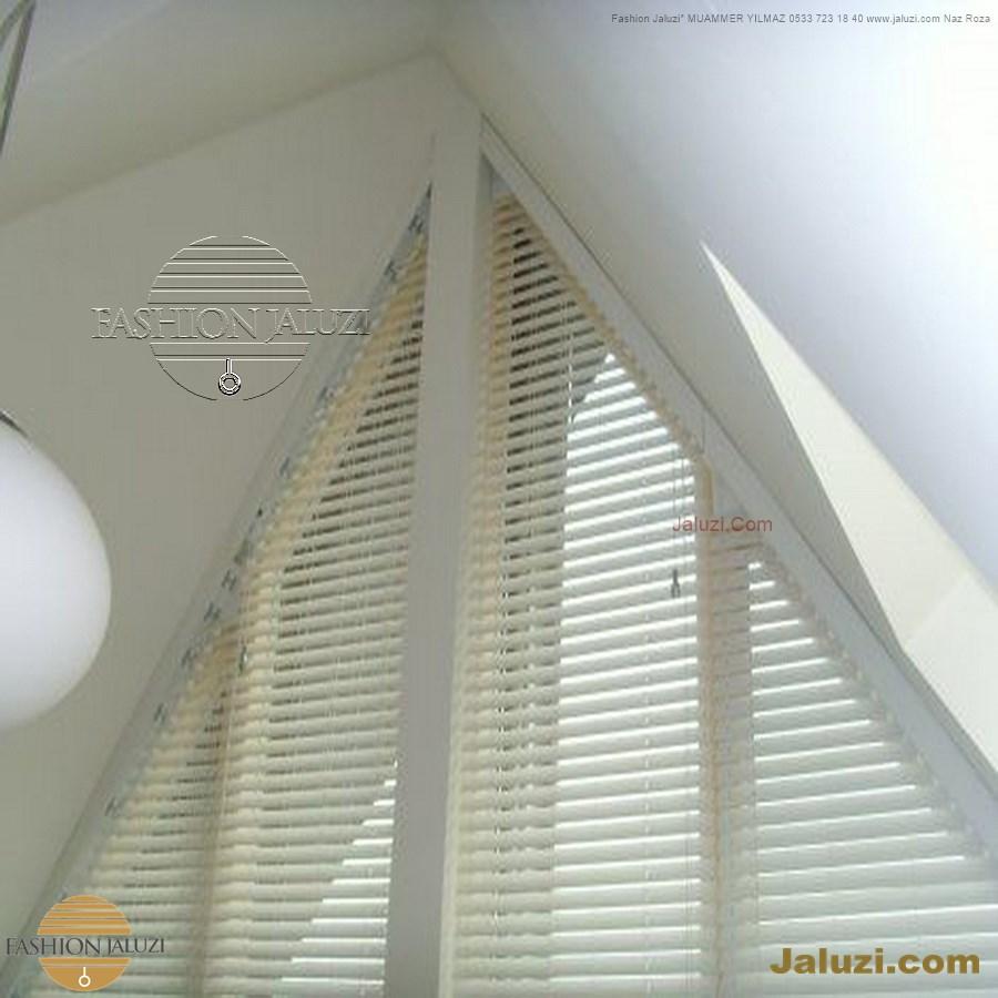 jaluzi perde eğimli meyilli üçgen yamuk şekilsiz alttan eğik formsuz üstten açılı açı shaped venetian blinds ahşap jaluzi perde (35)