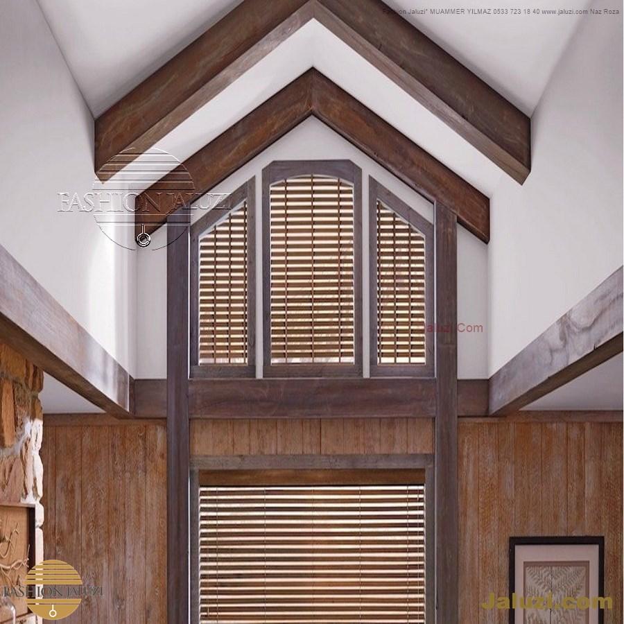 jaluzi perde eğimli meyilli üçgen yamuk şekilsiz alttan eğik formsuz üstten açılı açı shaped venetian blinds ahşap jaluzi perde (36)
