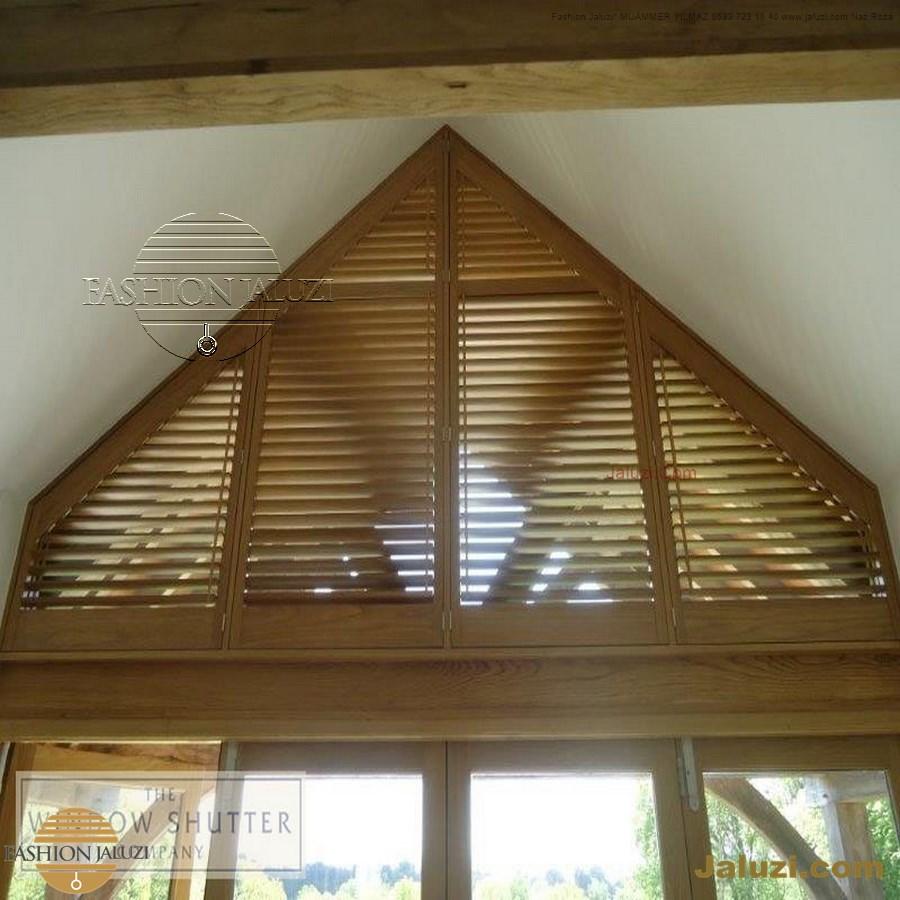 jaluzi perde eğimli meyilli üçgen yamuk şekilsiz alttan eğik formsuz üstten açılı açı shaped venetian blinds ahşap jaluzi perde (39)