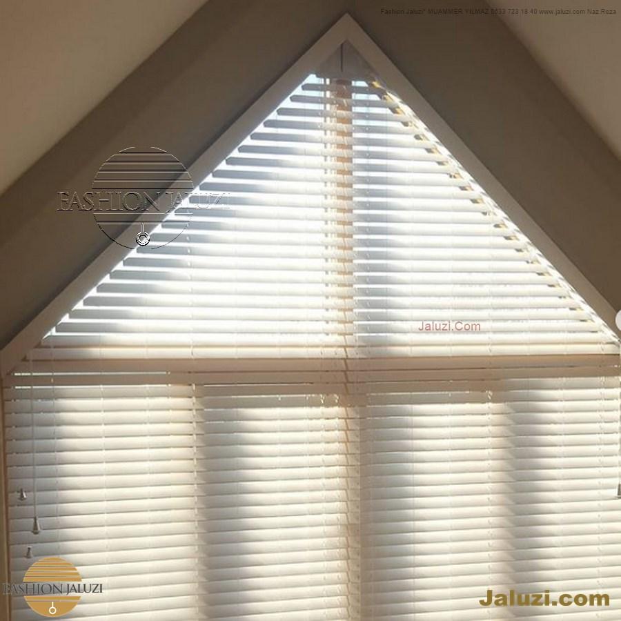 jaluzi perde eğimli meyilli üçgen yamuk şekilsiz alttan eğik formsuz üstten açılı açı shaped venetian blinds ahşap jaluzi perde (4)