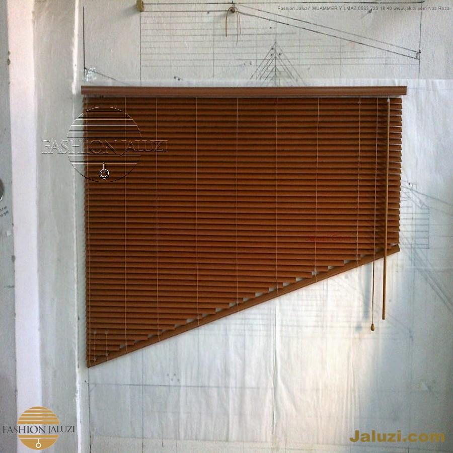 jaluzi perde eğimli meyilli üçgen yamuk şekilsiz alttan eğik formsuz üstten açılı açı shaped venetian blinds ahşap jaluzi perde (41)