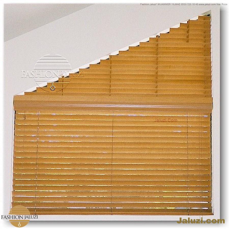 jaluzi perde eğimli meyilli üçgen yamuk şekilsiz alttan eğik formsuz üstten açılı açı shaped venetian blinds ahşap jaluzi perde (45)