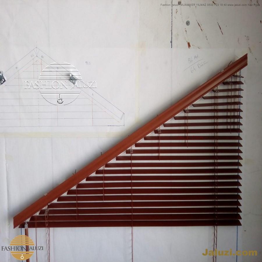 jaluzi perde eğimli meyilli üçgen yamuk şekilsiz alttan eğik formsuz üstten açılı açı shaped venetian blinds ahşap jaluzi perde (51)