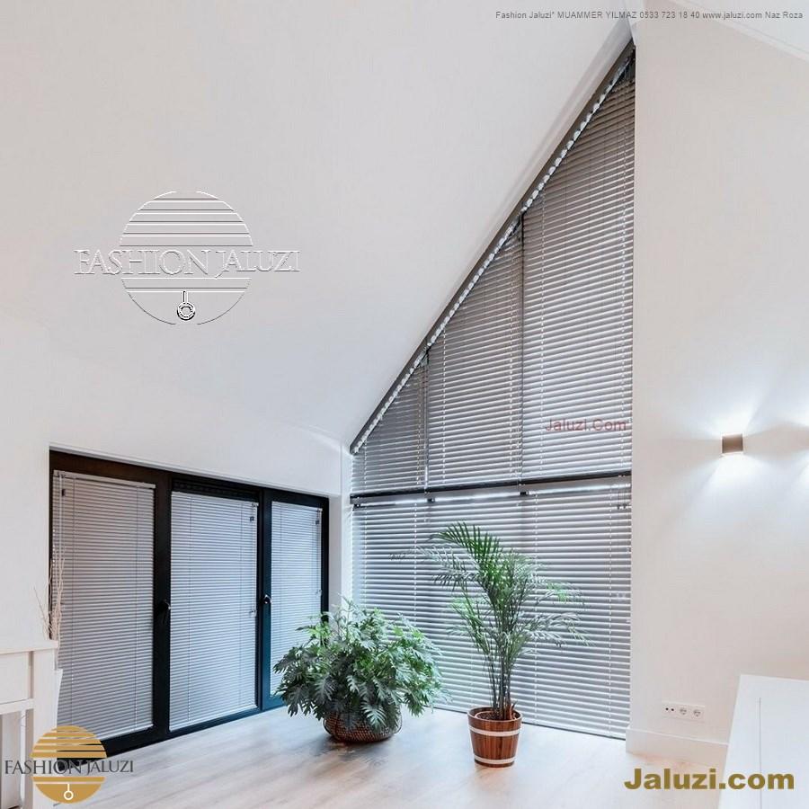 jaluzi perde eğimli meyilli üçgen yamuk şekilsiz alttan eğik formsuz üstten açılı açı shaped venetian blinds ahşap jaluzi perde (53)