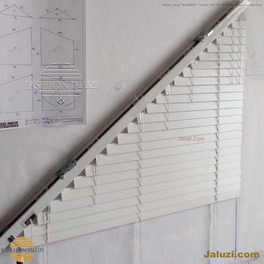jaluzi perde eğimli meyilli üçgen yamuk şekilsiz alttan eğik formsuz üstten açılı açı shaped venetian blinds ahşap jaluzi perde (56)