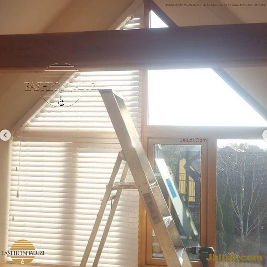 jaluzi perde eğimli meyilli üçgen yamuk şekilsiz alttan eğik formsuz üstten açılı açı shaped venetian blinds ahşap jaluzi perde (8)