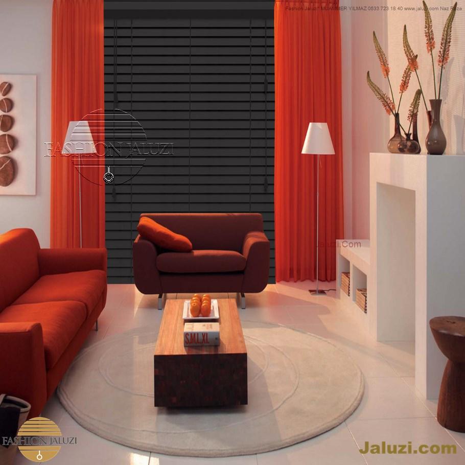 ahşap jaluzi perde fon perde panel perde klasik modern tarz kanat perde dekorasyonu wood blinds with valances drapery (1)