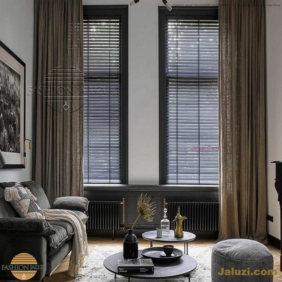 ahşap jaluzi perde fon perde panel perde klasik modern tarz kanat perde dekorasyonu wood blinds with valances drapery (10)