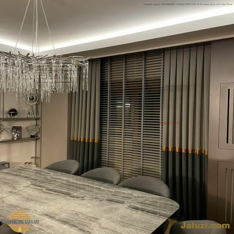 ahşap jaluzi perde fon perde panel perde klasik modern tarz kanat perde dekorasyonu wood blinds with valances drapery (14)