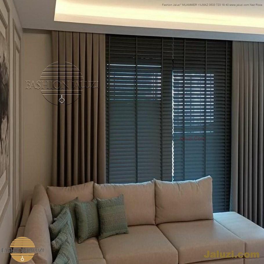 ahşap jaluzi perde fon perde panel perde klasik modern tarz kanat perde dekorasyonu wood blinds with valances drapery (15)