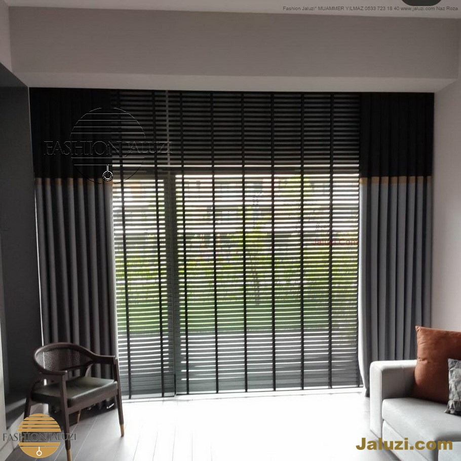 ahşap jaluzi perde fon perde panel perde klasik modern tarz kanat perde dekorasyonu wood blinds with valances drapery (16)