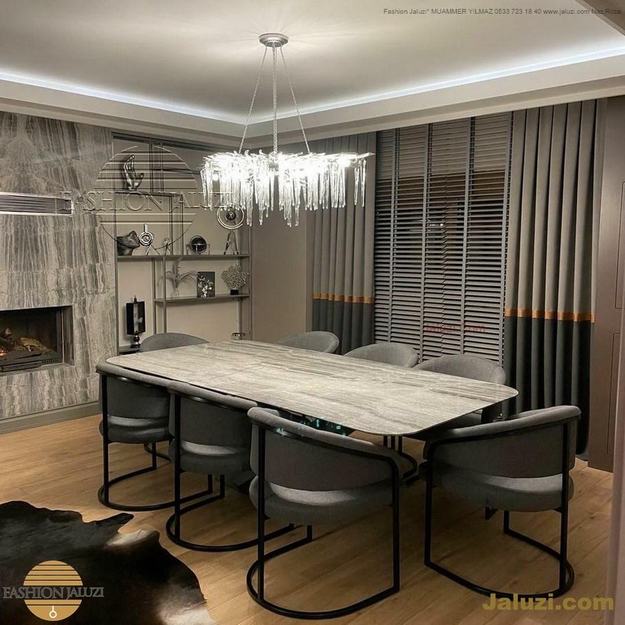 ahşap jaluzi perde fon perde panel perde klasik modern tarz kanat perde dekorasyonu wood blinds with valances drapery (17)