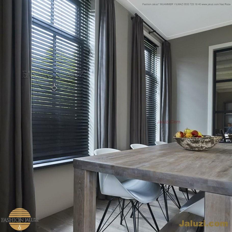 ahşap jaluzi perde fon perde panel perde klasik modern tarz kanat perde dekorasyonu wood blinds with valances drapery (19)