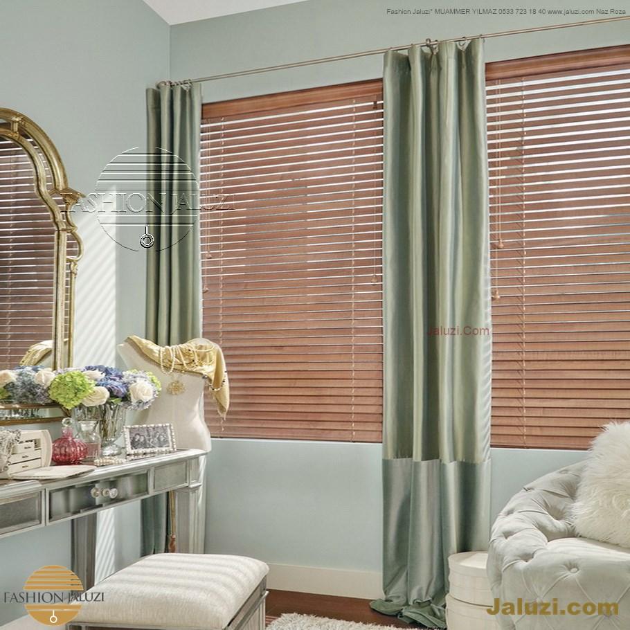 ahşap jaluzi perde fon perde panel perde klasik modern tarz kanat perde dekorasyonu wood blinds with valances drapery (20)
