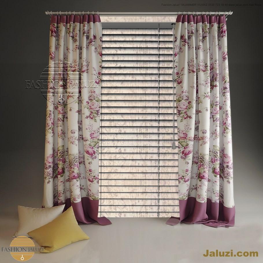ahşap jaluzi perde fon perde panel perde klasik modern tarz kanat perde dekorasyonu wood blinds with valances drapery (21)