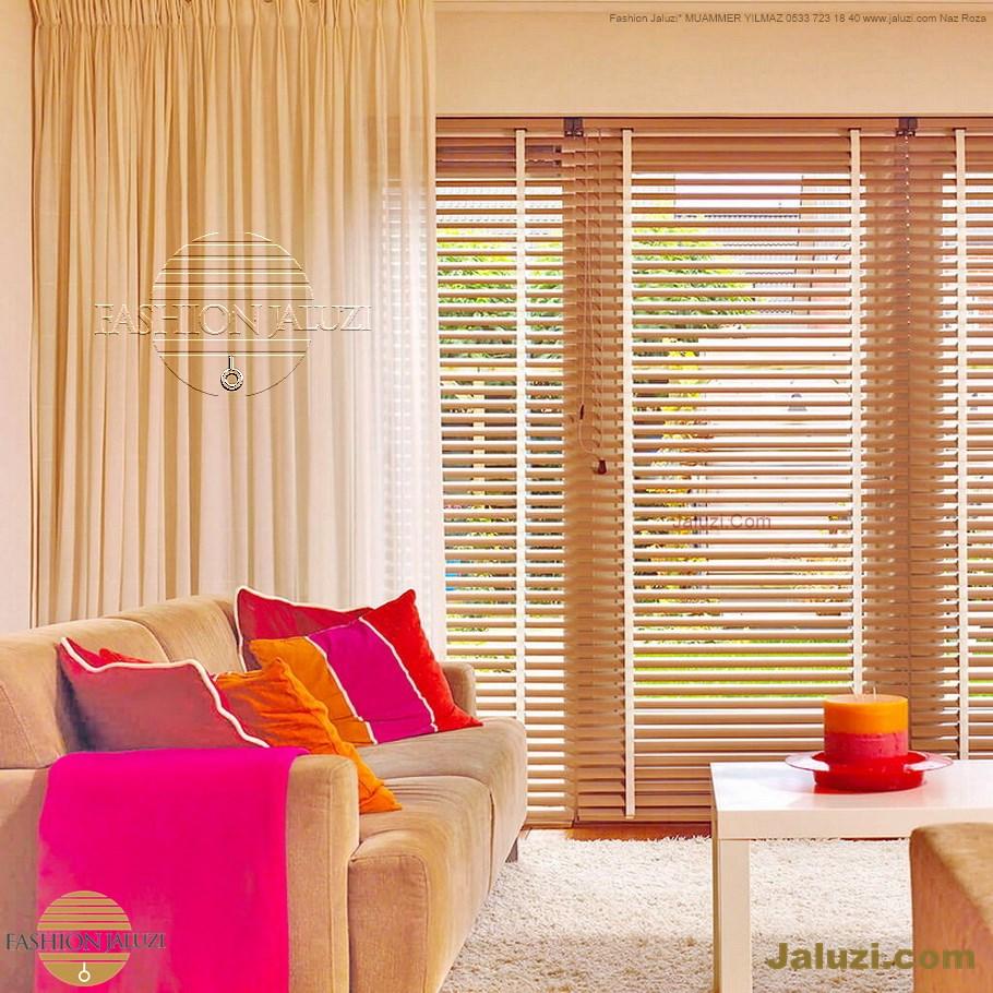 ahşap jaluzi perde fon perde panel perde klasik modern tarz kanat perde dekorasyonu wood blinds with valances drapery (22)