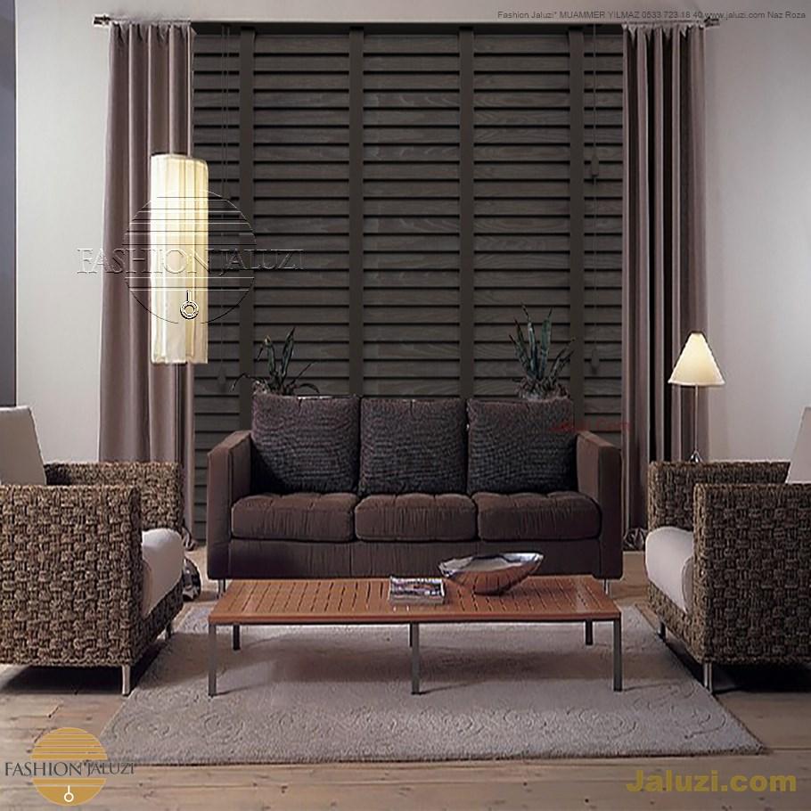 ahşap jaluzi perde fon perde panel perde klasik modern tarz kanat perde dekorasyonu wood blinds with valances drapery (24)