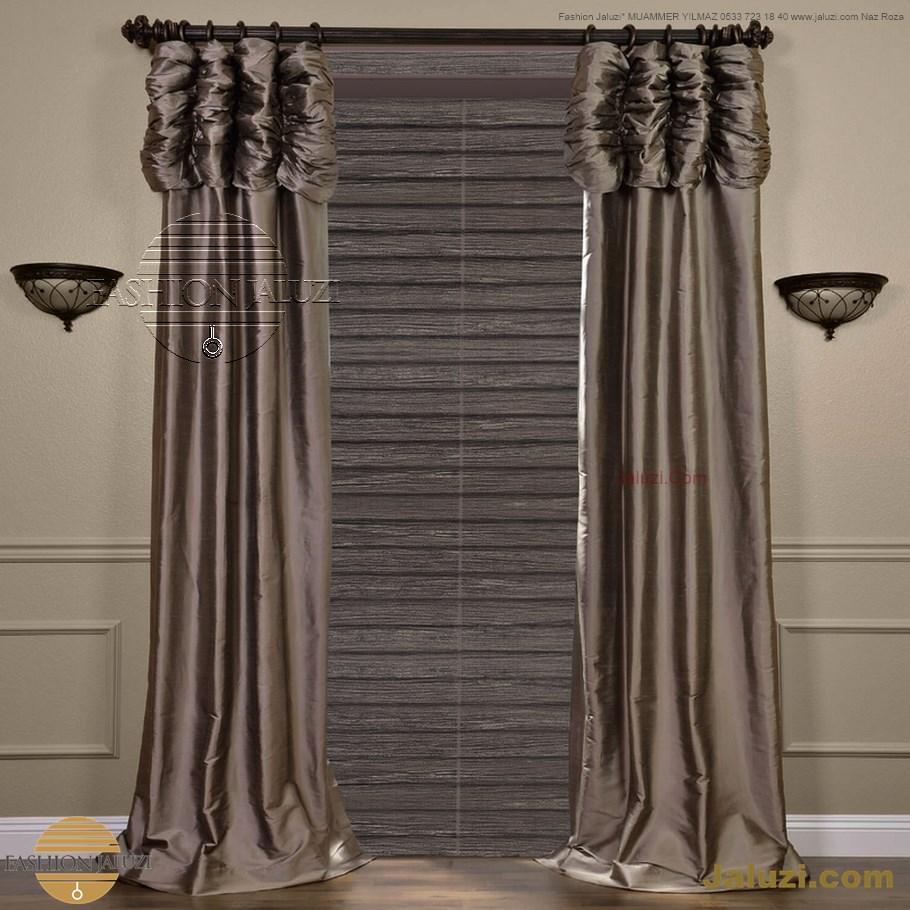 ahşap jaluzi perde fon perde panel perde klasik modern tarz kanat perde dekorasyonu wood blinds with valances drapery (25)