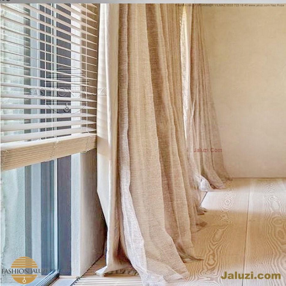 ahşap jaluzi perde fon perde panel perde klasik modern tarz kanat perde dekorasyonu wood blinds with valances drapery (29)