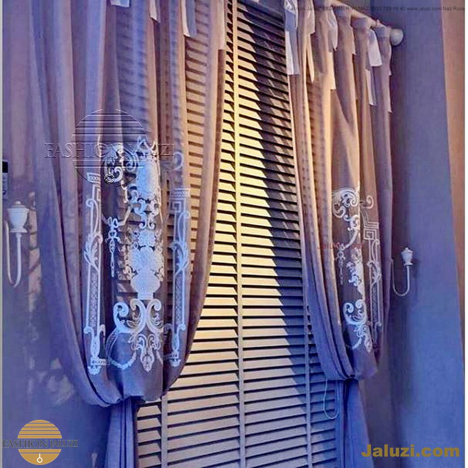 ahşap jaluzi perde fon perde panel perde klasik modern tarz kanat perde dekorasyonu wood blinds with valances drapery (31)