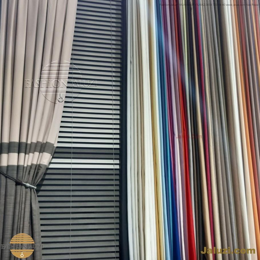 ahşap jaluzi perde fon perde panel perde klasik modern tarz kanat perde dekorasyonu wood blinds with valances drapery (33)
