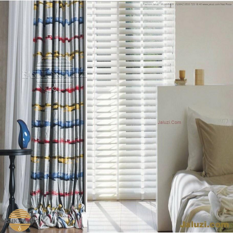 ahşap jaluzi perde fon perde panel perde klasik modern tarz kanat perde dekorasyonu wood blinds with valances drapery (34)