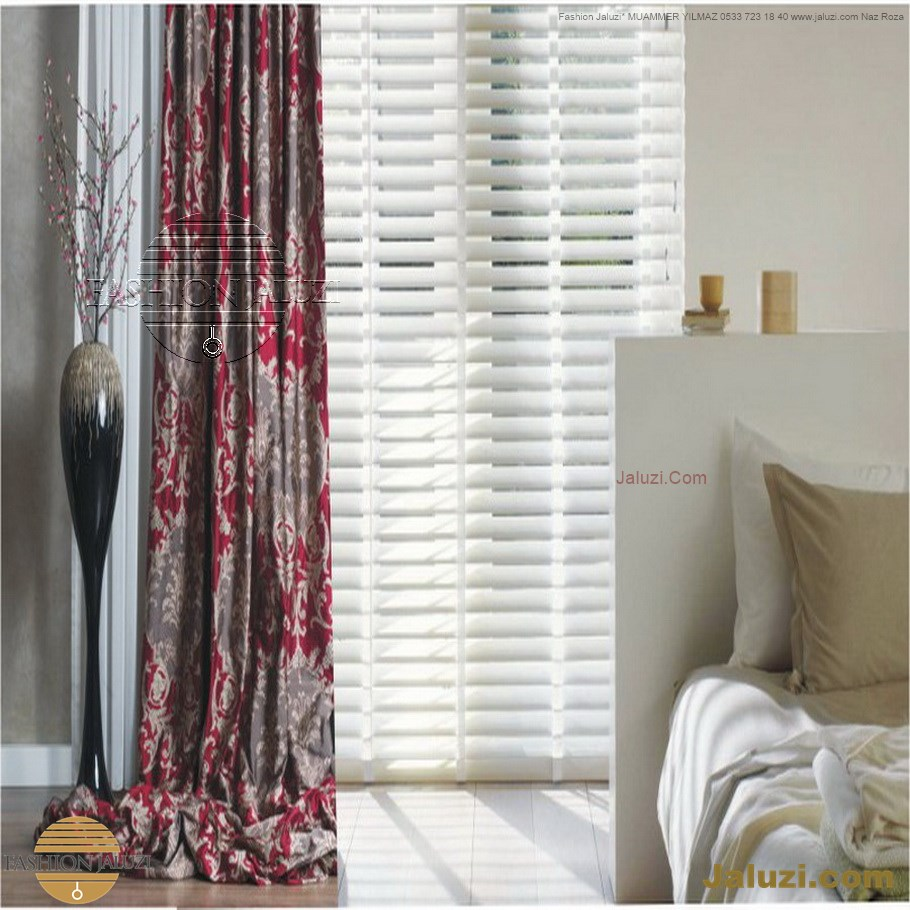 ahşap jaluzi perde fon perde panel perde klasik modern tarz kanat perde dekorasyonu wood blinds with valances drapery (35)