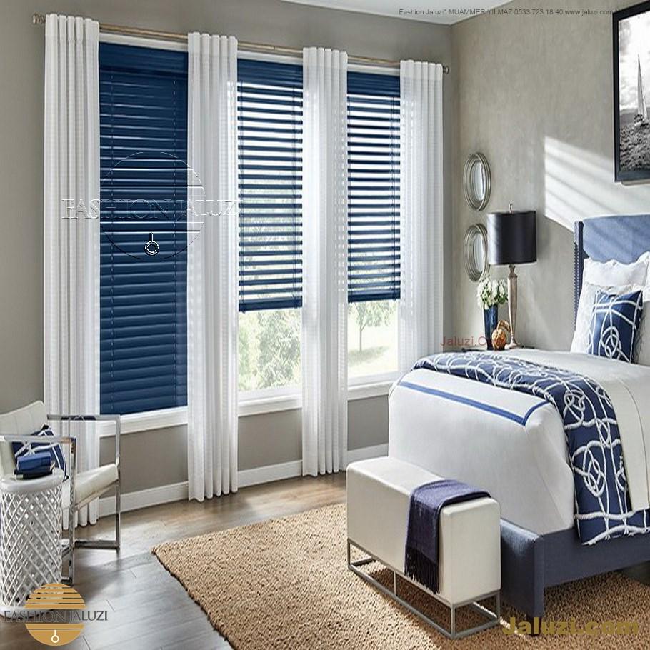 ahşap jaluzi perde fon perde panel perde klasik modern tarz kanat perde dekorasyonu wood blinds with valances drapery (9)