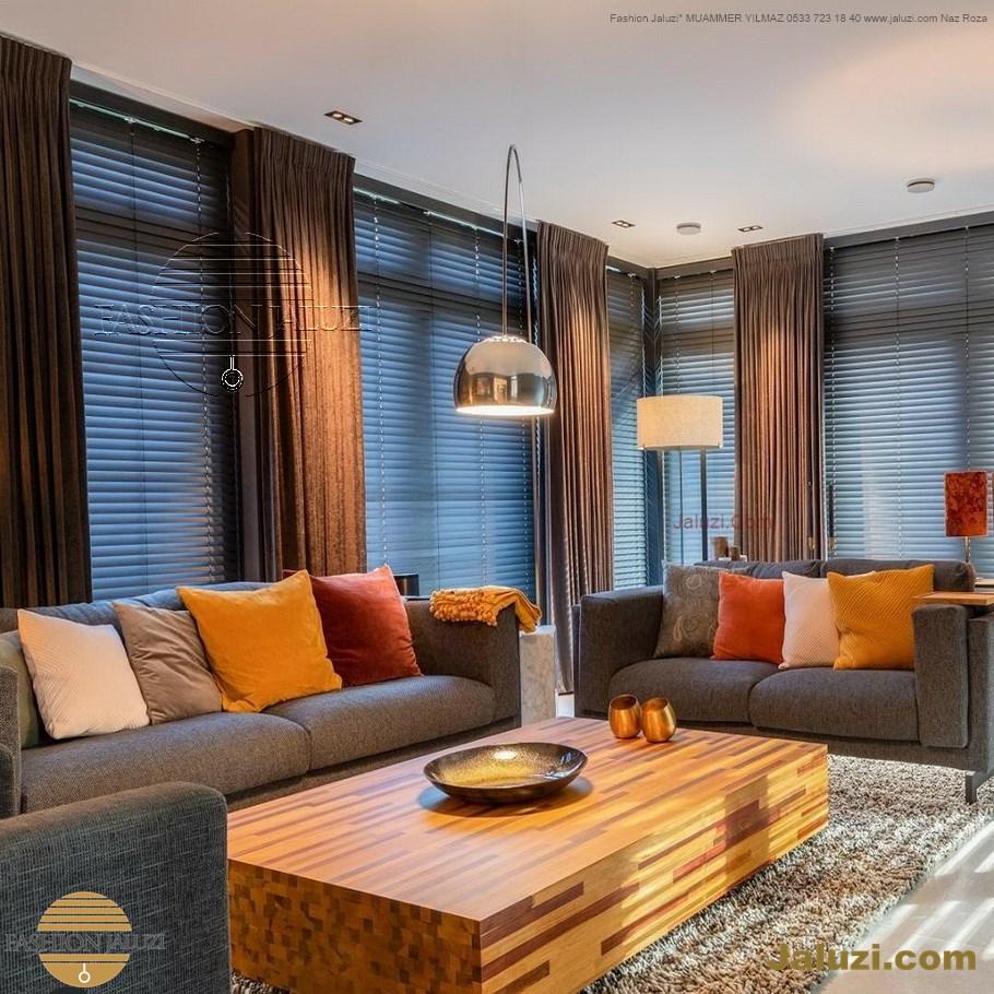 jaluzi ve fon perde kumaş perde ahşap jaluziler ve kanat fon drape eprdeler wood venetain blinds with drapery swag valance (1)