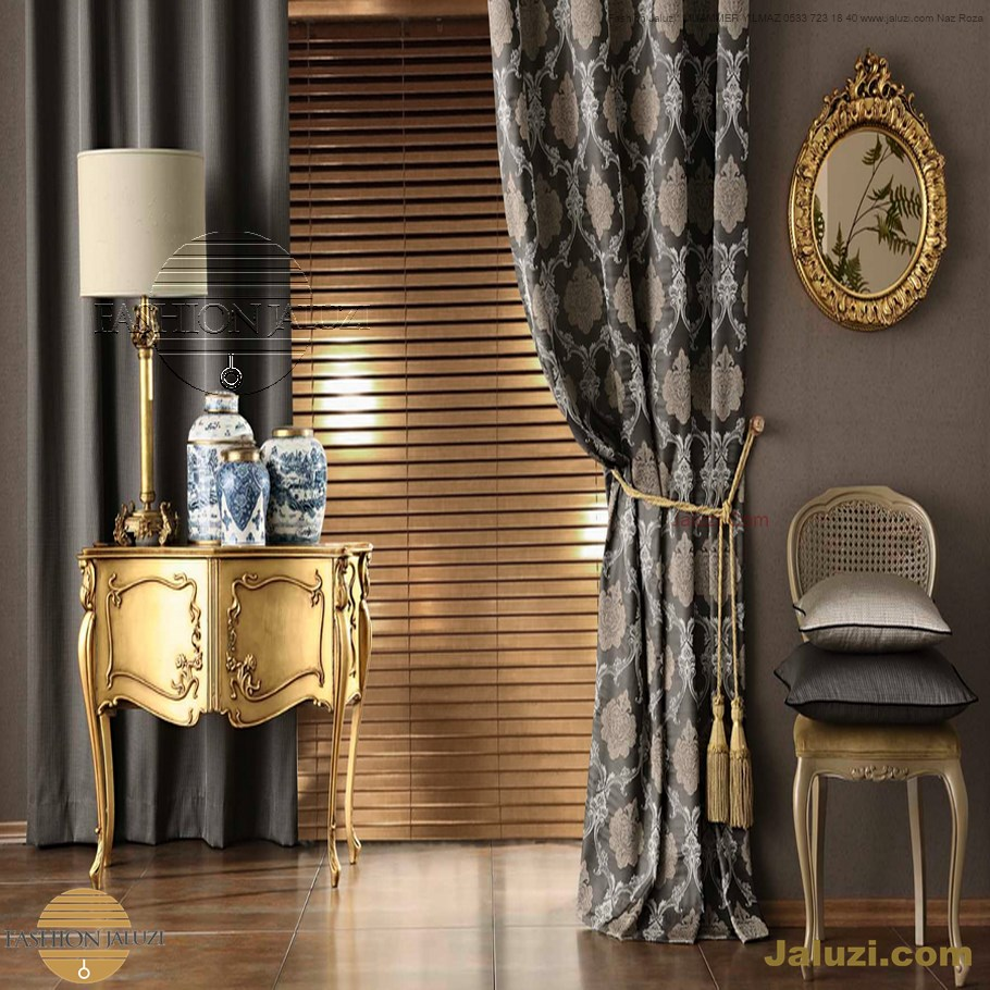 jaluzi ve fon perde kumaş perde ahşap jaluziler ve kanat fon drape eprdeler wood venetain blinds with drapery swag valance (16)