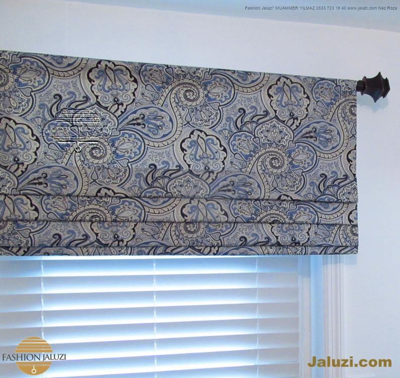 jaluzi ve fon perde kumaş perde ahşap jaluziler ve kanat fon drape eprdeler wood venetain blinds with drapery swag valance (23)