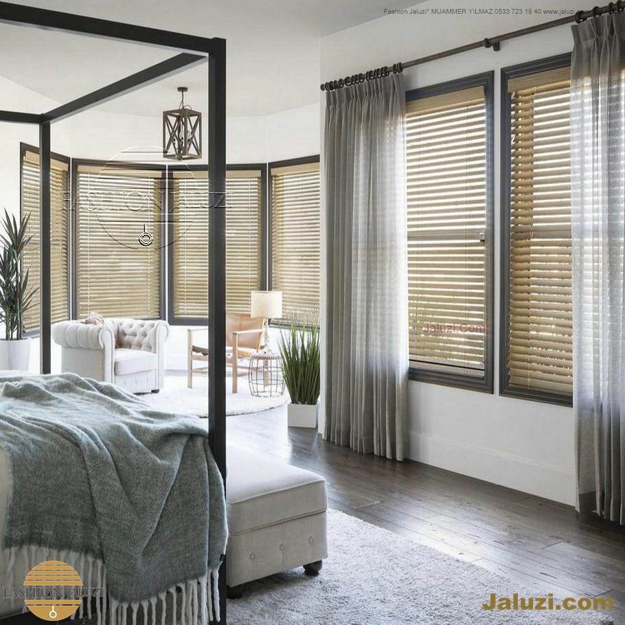 jaluzi ve fon perde kumaş perde ahşap jaluziler ve kanat fon drape eprdeler wood venetain blinds with drapery swag valance (7)