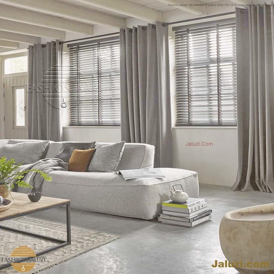 jaluzi ve fon perde kumaş perde ahşap jaluziler ve kanat fon drape eprdeler wood venetain blinds with drapery swag valance (8)